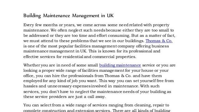 Building Management - Building Maintenance Management
