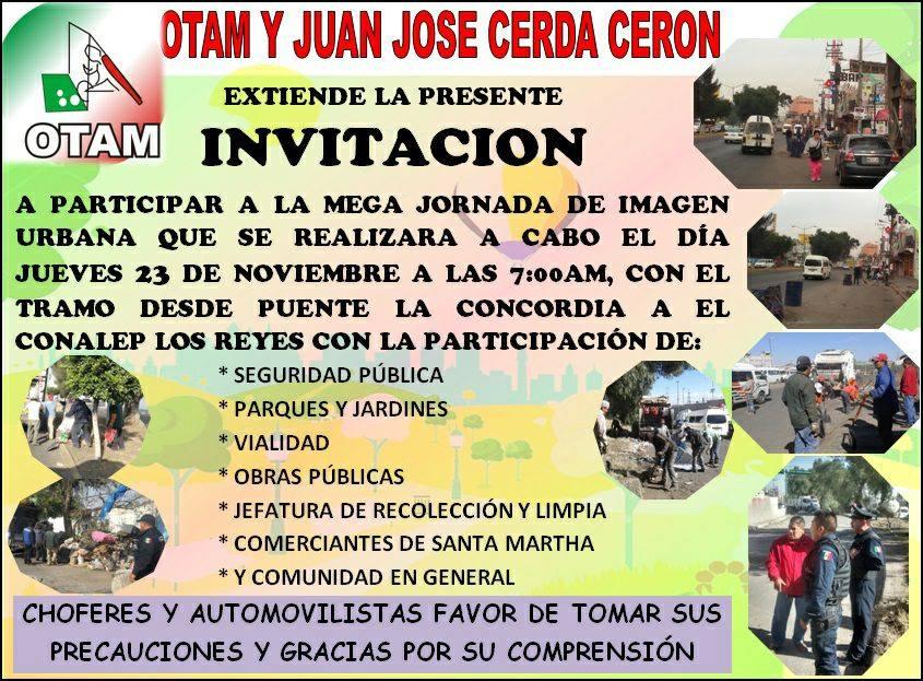 La Organización de Tianguistas de la Avenida Morelos, OTAM. Invitan a la Mega Jornada de Limpieza