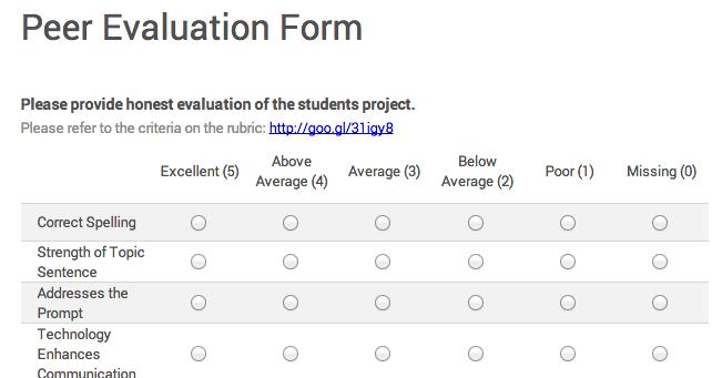 Google for Education Delivering Peer Feedback with Google Forms – Peer Evaluation Form