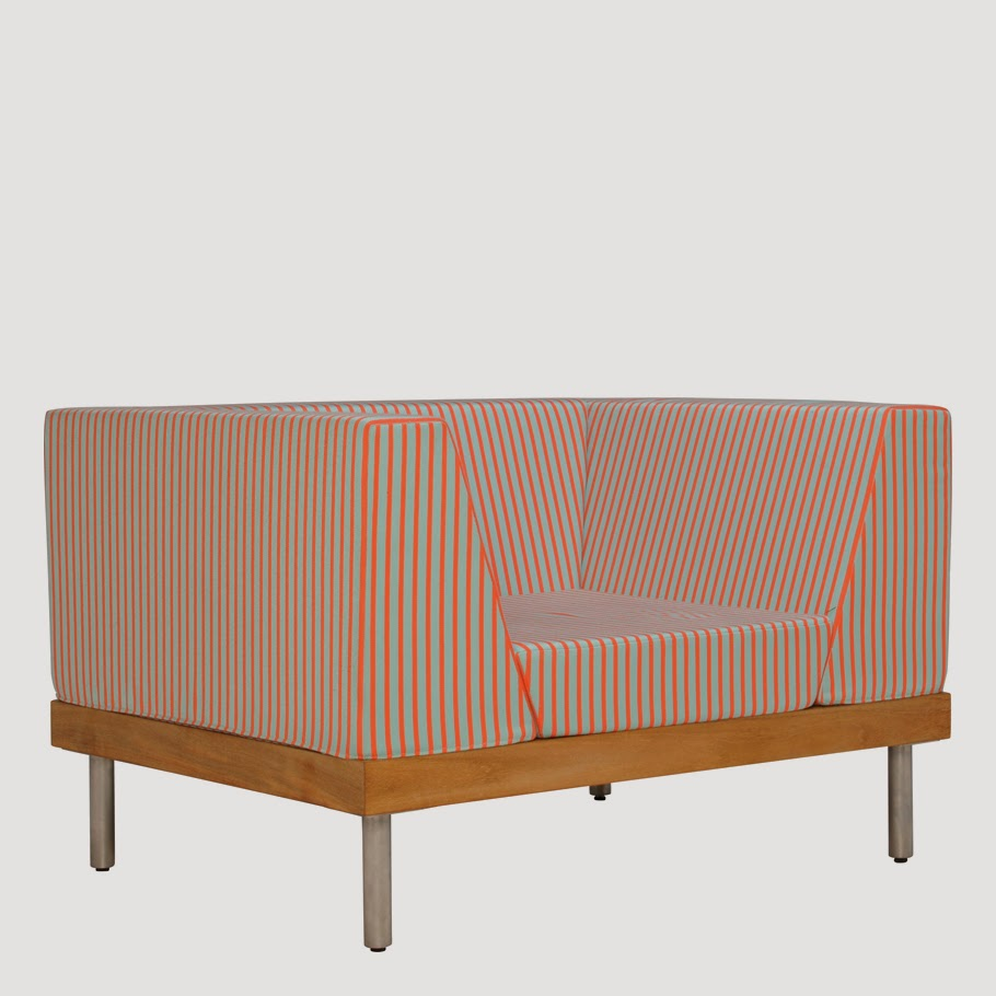 ... The Lines Between Indoor And Outdoor Style. Clean Lined Deep  Upholstered Seating Sits Atop A Premium Teak Base And Electropolished  Stainless Steel Legs.
