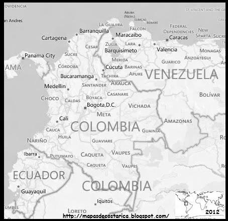 Mapa de COLOMBIA , blanco y negro, BING