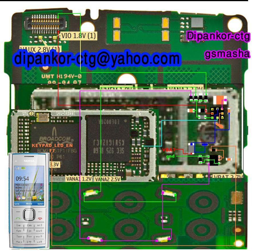 Nokia X2-00 Lcd and keypad light solution