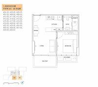 D'shire @ Derbyshire 1 Bedroom Floor Plan