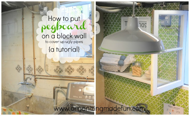 How to put pegboard on a block wall to cover up ugly pipes {a tutorial} | OrganizingMadeFun.com