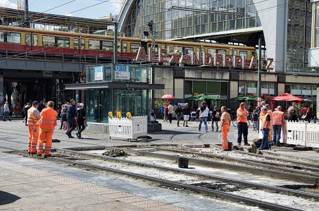 Baustelle Alexanderplatz, Gleisarbeiten, 10178 Berlin, 16.08.2013