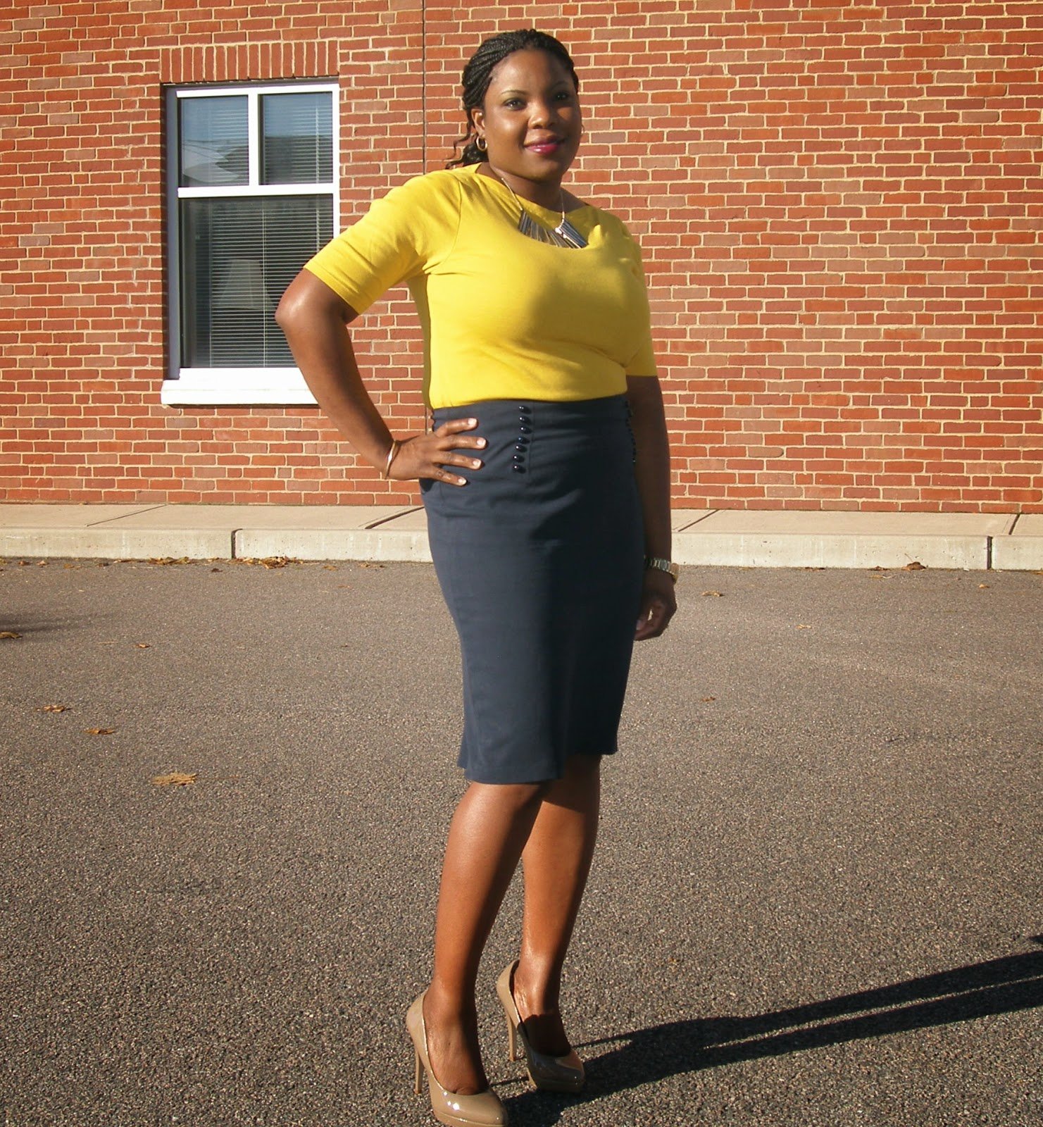 "Navy Pencil Skirt, Macy's Skirt, Nude pumps, How to walk in 4"" Pumps"