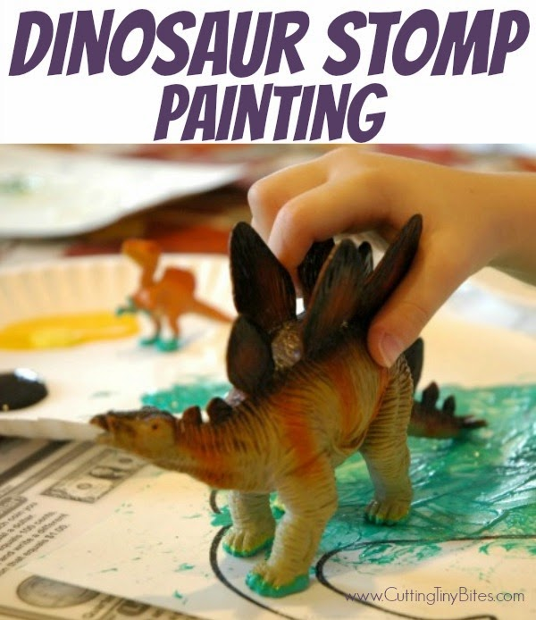 Dinosaur Stomp Painting- Process art painting for toddlers, preschoolers, or older children. Great for dinosaur lovers or a Pre-K theme unit!