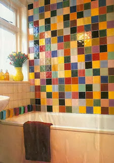 Colorful tiles in the bathroom