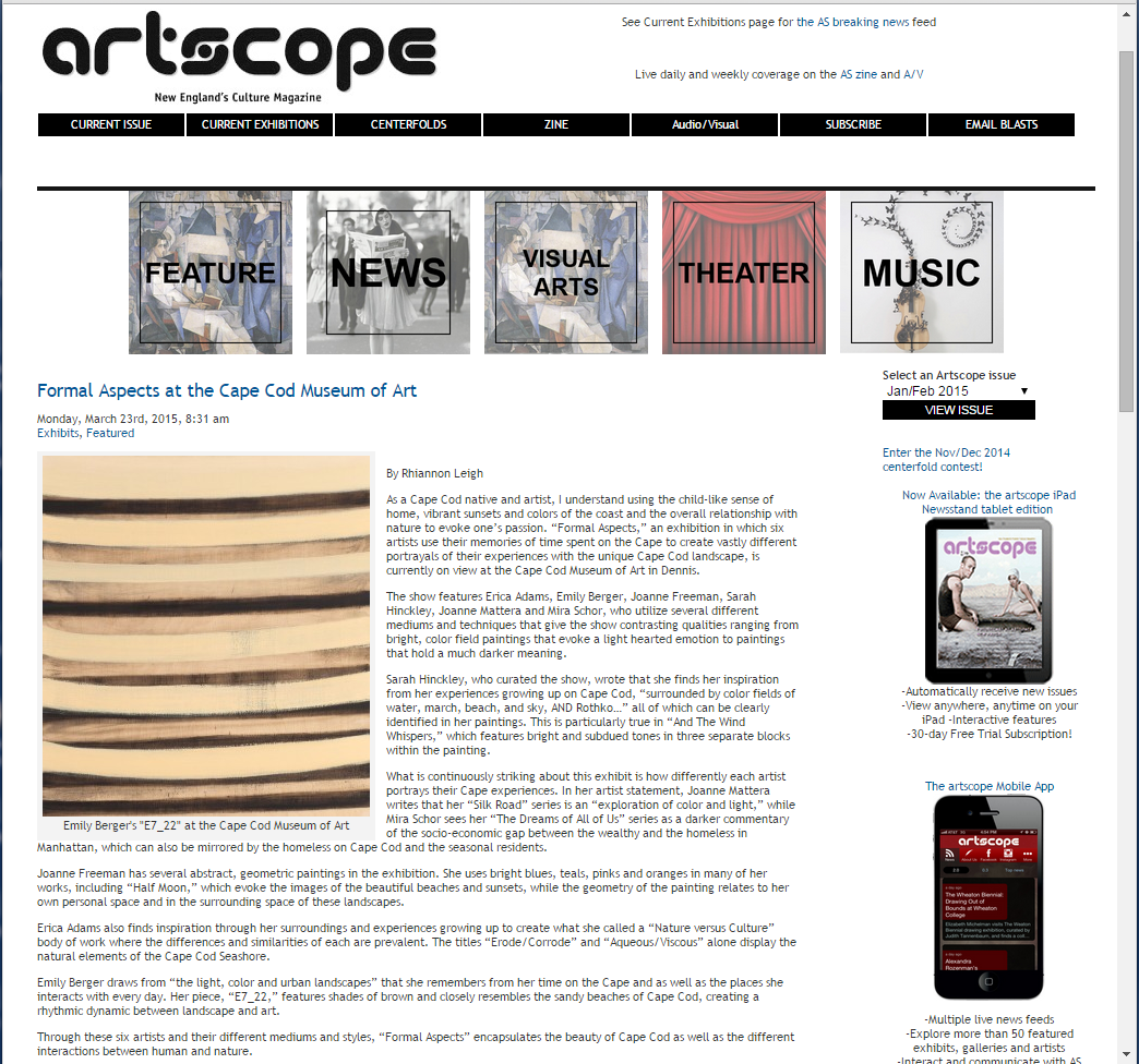 Review in Artscope Magazine