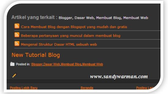 Cara memasang related post / artikel terkait di blog