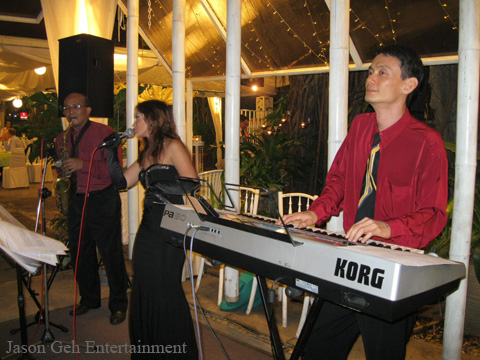 Jason Geh Jazz Trio performing at the retirement party