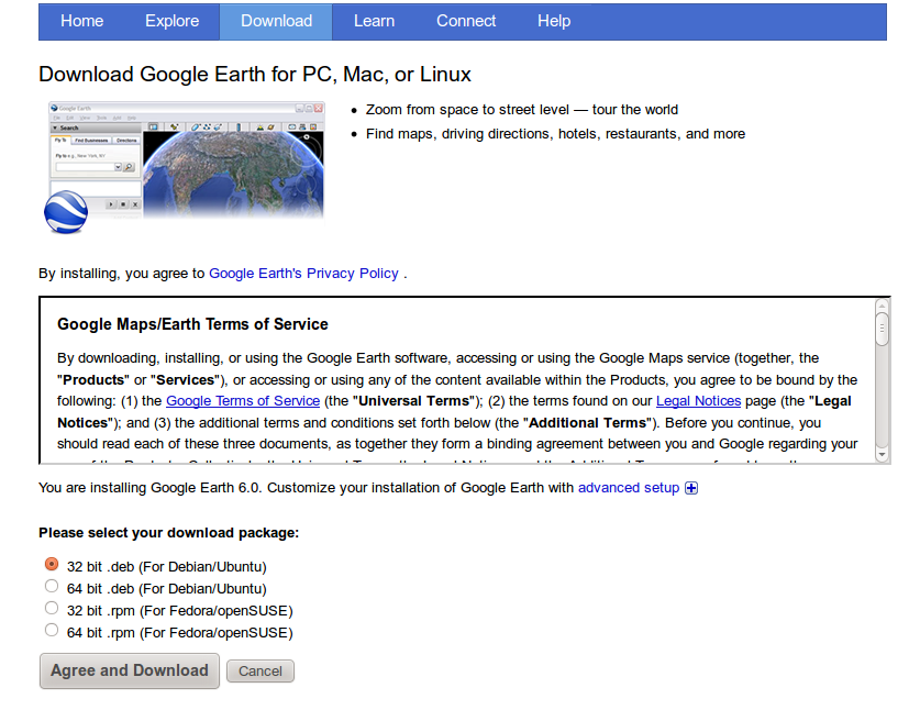 Halaman download Google Earth 6.0.2
