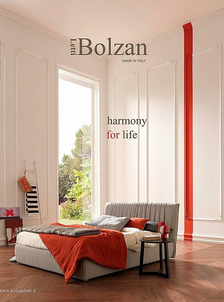 il letto imbottito di bolzan della linea Harmony for life