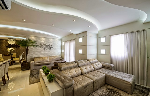 Sala De Estar Verde Claro ~  branco baixo na lateral dos sofás de costas para sala de estar