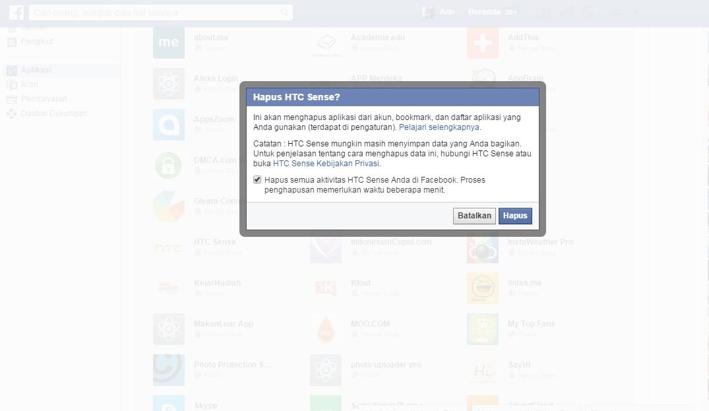 Penghapusan  Aplikasi Facebook