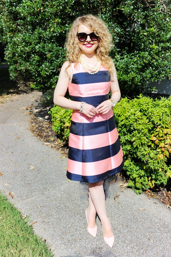 Navy and pink stripe dress, J. Crew navy schoolboy blazer, fashion blog for young professionals