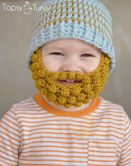 Beanie Hat With Beard Crochet Pattern Free : tangled happy: Bobble Bearded Beanie