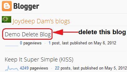 blog selection for deletion
