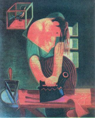 A Engomadeira (1938) óleo sobre tela de Almada Negreiros, Contrariedades, Cesário Verde