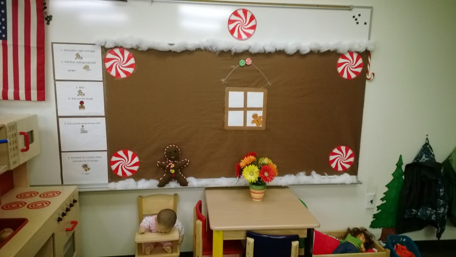 You Can See The Gingerbread Man Doll I Sewed For The Kids To Play Pretend  With. On The Left Side Of The Bulletin Board Are Recipe Cards For Making ...