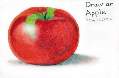 A Red Macintosh Apple drawing by ©Ana Tirolese