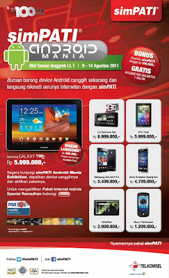 Android Promo at Mall Taman Anggrek/></a></div><br /> <br /> SimPATI Android Mania event at Mall Taman Anggrek will end today.<br /> The event is offering the promo of several Android phones such as LG Optimus, HTC Flayer, Samsung Galaxy SII, Xperia Arc, Live Pad And Nox-x Terminator.<br /> <br /> Visit SimPATI Android Mania at the Mal Taman Anggrek Lt.1 on 8 to 14 August 2011 and enjoy special offers plus 0% installment for 6 & 12 months of Credit Card Mandiri.<br /> Get Vouchers BONUS also SimPATI to 100,000 and surf unlimited FREE for 1 month.<br /> Here are some of the products included in the promo:<br /> Galaxy Tab 10.1 Rp5,999,000 (discount direct use Telkomsel Points Rp500,000 with Telkomsel Poin*, come into force on 12-14 August 2011).<br /> HTC Flyer Rp.5.999.000<br /> LG Optimus PAD Rp.6.999.000<br /> Samsung Galaxy S II Rp.5.499.000<br /> Olive Pad Rp.2.999.000<br /> Sony Ericsson Xperia Arc Rp.4.799.000<br /> Nox-x Terminator Rp.1.299.000<br /> <br /> <h2>Search Terms of Promo LG Optimus, HTC Flayer, Samsung Galaxy SII, Xperia Arc, Live Pad And Nox-x Terminator at SimPATI Android Mania at Taman Anggrek </h3>SimPATI Android Mania Promo, Harga Promo  <div style='clear: both;'></div> </div> <div class='post-footer'> <div class='post-footer-line post-footer-line-1'> <span class='reaction-buttons'> </span> <span class='star-ratings'> </span> <span class='post-comment-link'> </span> <span class='post-backlinks post-comment-link'> </span> <span class='post-icons'> <span class='item-control blog-admin pid-1735278661'> <a href='https://www.blogger.com/post-edit.g?blogID=1377932494902451043&postID=1197399293749646568&from=pencil' title='Edit Post'> <img alt='' class='icon-action' height='18' src='http://www.blogger.com/img/icon18_edit_allbkg.gif' width='18'/> </a> </span> </span> </div> <div class='post-footer-line post-footer-line-2'> <span class='post-labels'> Labels: <a href='http://ratuponsel.blogspot.com/search/label/Android' rel='tag'>Android</a>, <a href='http://ratuponsel.blogspot.com/search/label/Promo' rel='tag'>Promo</a> </span> </div> <div class='post-header-line-1'> <span class='post-author vcard'> </span> <span class='post-timestamp'> jam <a class='timestamp-link' href='http://ratuponsel.blogspot.com/2011/08/promo-lg-optimus-htc-flayer-samsung.html' rel='bookmark' title='permanent link'><abbr class='published' title='2011-08-13T11:46:00-07:00'>11:46 AM</abbr></a> </span> <p> <div class='addthis_toolbox addthis_default_style'> <a class='addthis_button_facebook_like' fb:like:layout='button_count'></a> <a class='addthis_button_tweet'></a> <a class='addthis_counter addthis_pill_style'></a> </div> <script src='http://s7.addthis.com/js/250/addthis_widget.js#username=xa-4cd416420e08d4aa' type='text/javascript'></script> </p> </div> <div class='post-footer-line post-footer-line-3'> <span class='post-location'> </span> </div> </div> </div> <div class='comments' id='comments'> <a name='comments'></a> <h4> 0 comment:          </h4> <dl class='avatar-comment-indent' id='comments-block'> </dl> <p class='comment-footer'> <a href='https://www.blogger.com/comment.g?blogID=1377932494902451043&postID=1197399293749646568' onclick=''>Post a Comment</a> </p> <div id='backlinks-container'> <div id='Blog1_backlinks-container'> <a name='links'></a><h4><!--Can't find substitution for tag [post.backlinksLabel]--></h4> <p class='comment-footer'> <a class='comment-link' href='' id='Blog1_backlinks-create-link' target='_blank'><!--Can't find substitution for tag [post.createLinkLabel]--></a> </p> </div> </div> </div> <!--Can't find substitution for tag [adEnd]--> </div> <div class='blog-pager' id='blog-pager'> </div> <div class='clear'></div> <div class='post-feeds'> <div class='feed-links'> Subscribe to: <a class='feed-link' href='http://ratuponsel.blogspot.com/feeds/1197399293749646568/comments/default' target='_blank' type='application/atom+xml'>Post Comments (Atom)</a> </div> </div> </div></div> </div> <div id='sidebar-wrapper'> <div class='sidebar section' id='sidebar'><div class='widget HTML' data-version='1' id='HTML3'> <h2 class='title'>Advertisment</h2> <div class='widget-content'> <script type=