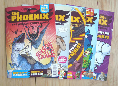 a display of issues of The Phoenix comic