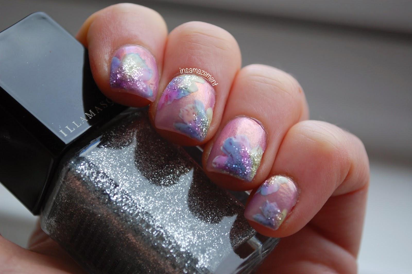 Glitter Floral Nail Art