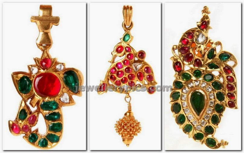 antique pendents with ruby emeralda