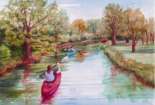 Kayaking Watecolor custom painting