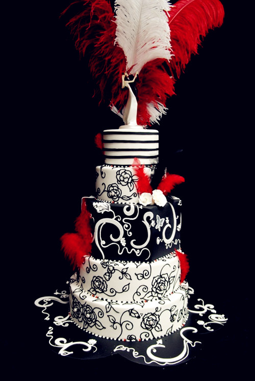 Gorgeous red, black and white wedding cake
