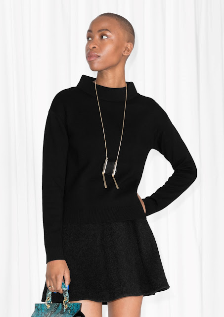 black wide collar jumper, stories black collar jumper,