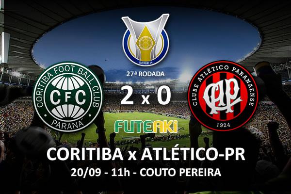 Veja o resumo da partida com os gols e os melhores momentos de Coritiba 2x0 Atlético-PR pela 27ª rodada do Brasileirão 2015.
