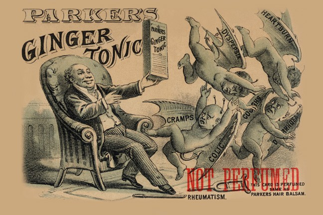 old advertisement in 1800s for parker's ginger tonic