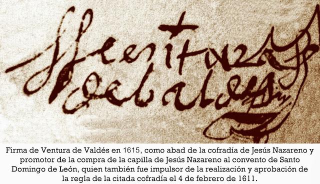 Firma de Ventura de Baldés el 21 de abril de 1615 para comprar la capilla donde se estableció la cofradía de Jesús Nazareno