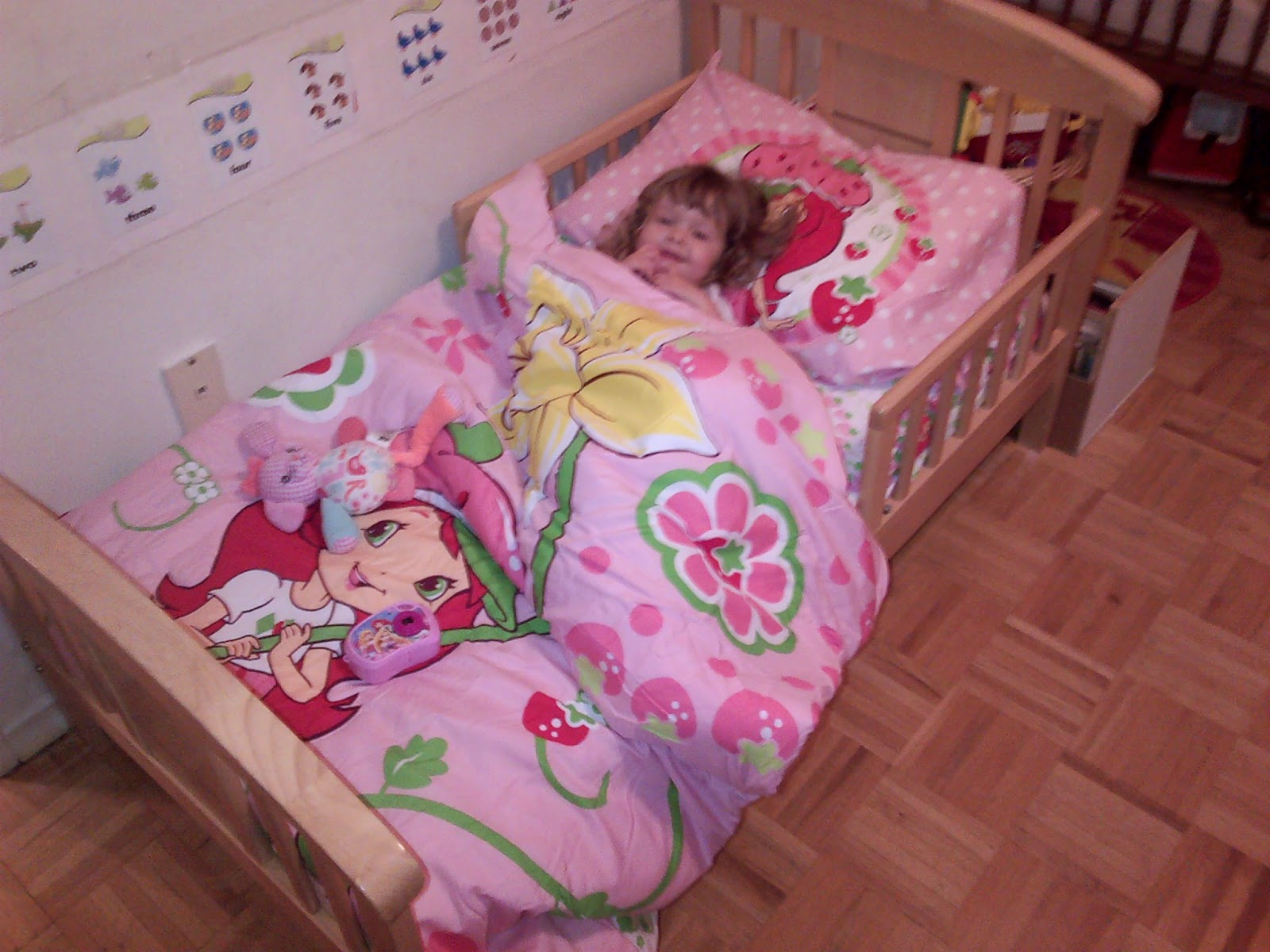 Cool In other news Leila has finally moved into her big girl bed Her Oma bought her Strawberry Shortcake sheets for Christmas so she is all set