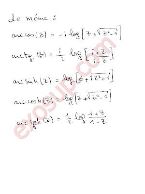 Fonctions trigonomériques et hyperboliques inverses