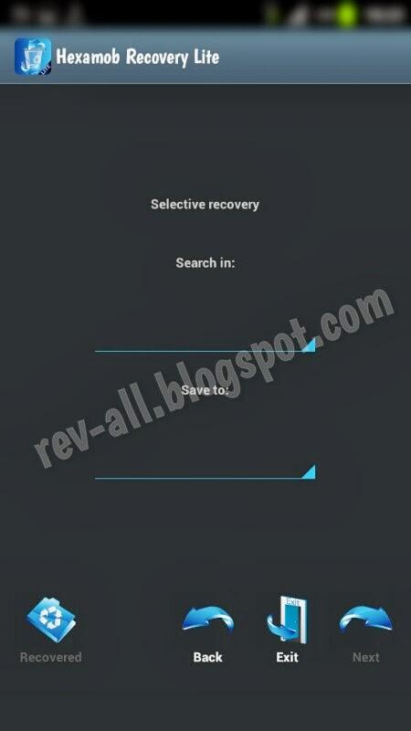 Pilih memori Hexamob Recovery Lite - aplikasi android untuk recovery data yang terhapus (rev-all.blogspot.com)