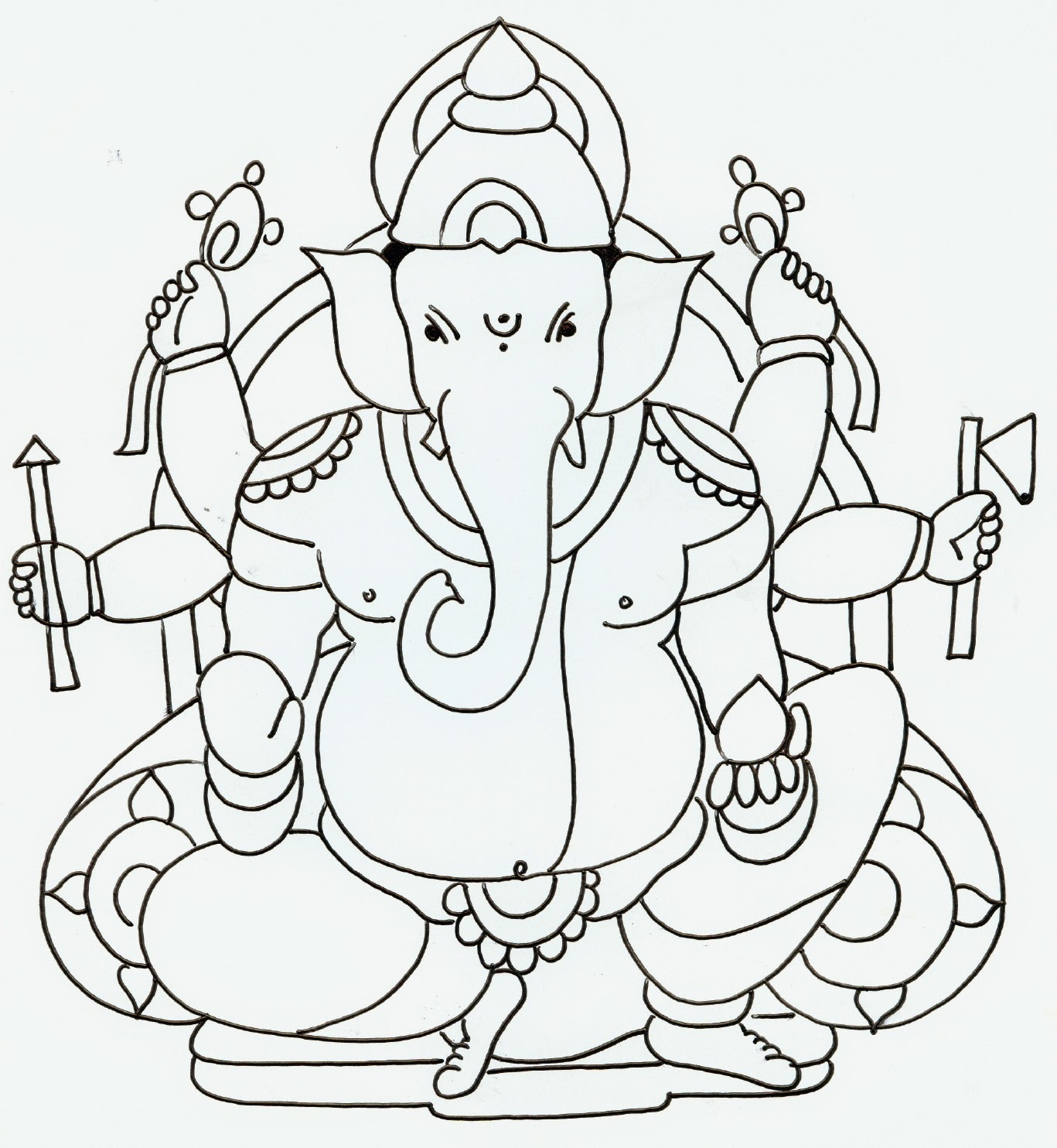 Colours drawing wallpaper lord ganesha colour drawing hd for Ganesha coloring pages