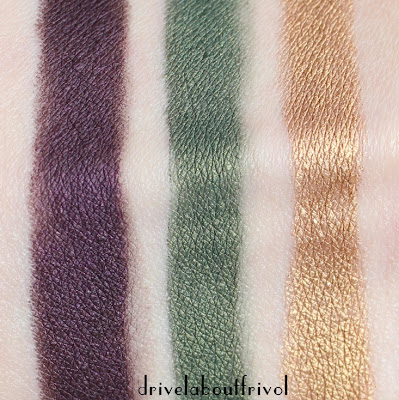 By Terry Ombre Blackstar cream eyeshadow stick swatches 9 Velvet Orchid, 10 Midnight Forest, 11 Beyond Gold