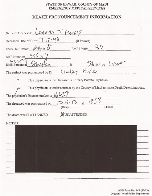 Birther Report Maui Police Responses Indicate HDOH Director Loretta Fuddy Did Not Die