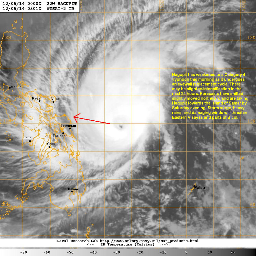 latest satellite image shows the eye reforming as typhoon hagupit is undergoing an eyewall replacement cycle this erc has weakened the system from a