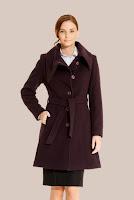 Palton visiniu matlasat din stofa de lana 437 (Ama Fashion)