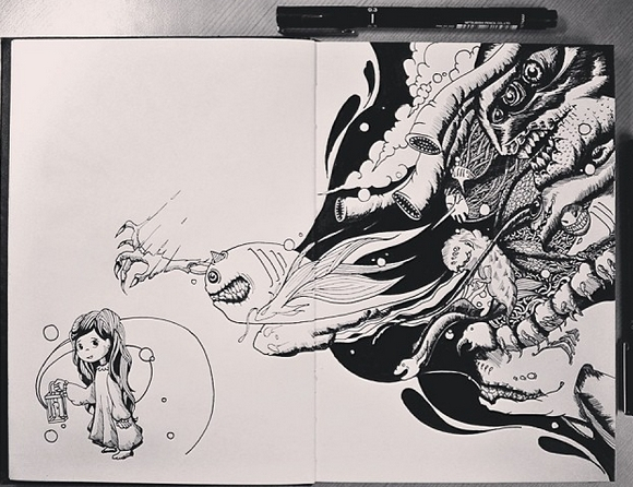 02-Brave-Joseph-Catimbang-Pentasticarts-Metaphysical-and-Surreal-Doodle-Drawings-www-designstack-co