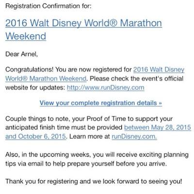 2016 Walt Disney World Marathon Weekend Registration Confirmation