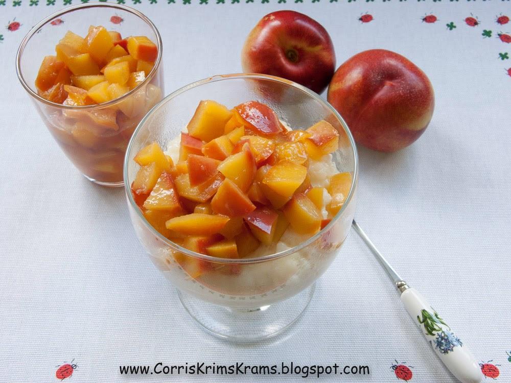 früchte, nektarinen, milchreis, sommer, kompott