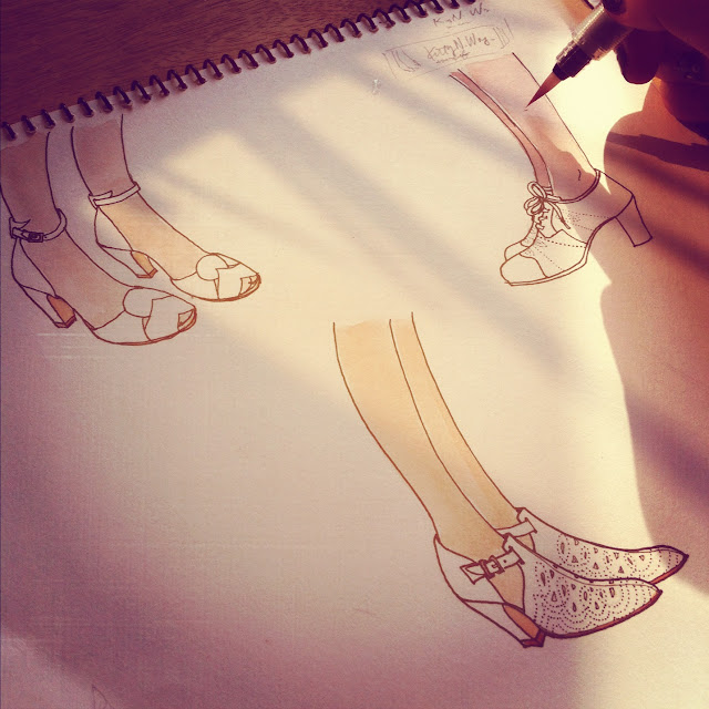 instagram of watercolor shoe sketches