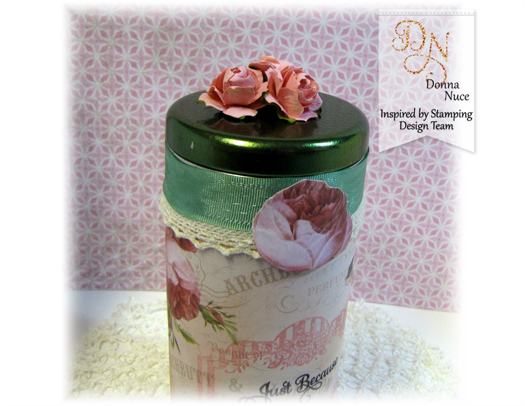 Inspired by Stampin, Crafty Colonel Donna Nuce, Flowers Bloom Stamp Set, Altered Tea Tin