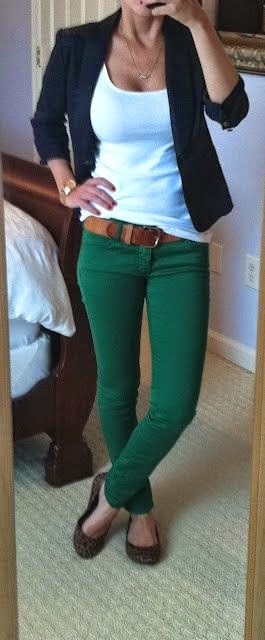 love the colored jeans with a white tank and black blazer combo! leopard flats are great too