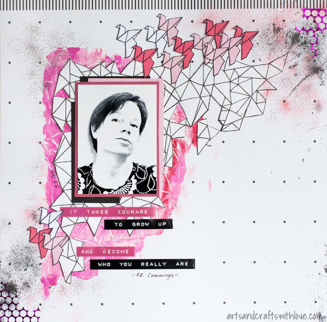 Scrapbooking layout using Sketchabilities sketch #138: Courage